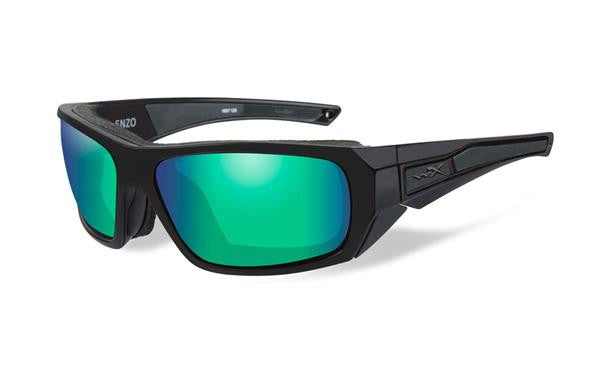 WILEY X CCENZ07 ENZO POLARIZED TACTICAL SUNGLASSES EMERALD MIRROR LENS MATTE BLACK FRAMES