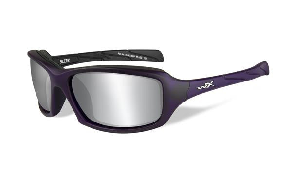 WILEY X CCSLE01 SLEEK TACTICAL SUNGLASSES SILVER FLASH LENS/MATTE VIOLET FRAME