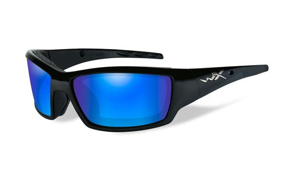 WILEY X CCTID09 TIDE POLARIZED TACTICAL SUNGLASSES, BLUE MIRROR LENS/ GLOSS BLACK FRAME