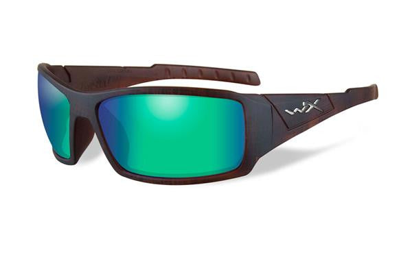 WILEY X SSTWI07 TWISTED POLARIZED EMERALD GREEN LENS/MATTE HICKORY BROWN FRAME