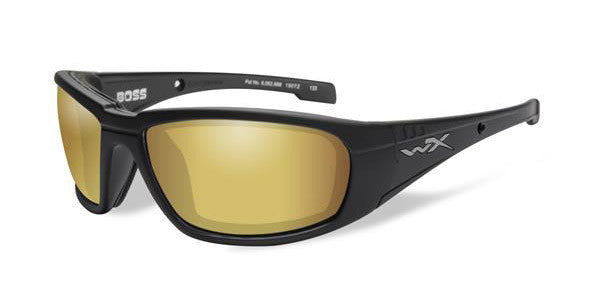 WILEY X CCBOS04 BOSS POLARIZED TACTICAL SUNGLASSES, VENICE GOLD LENS/BLACK MATTE FRAMES