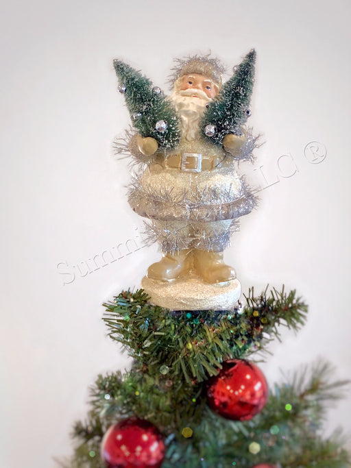 Woodland Jolly Santa With Trees Unique Christmas Tree Topper - Summit Arbor