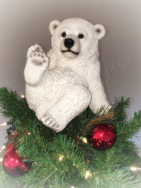 Playing Polar Bear Sitting Unique Christmas Tree Topper - Summit Arbor