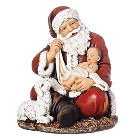 "6"" SITTING Santa with Baby Jesus Tree Topper - Summit Arbor"