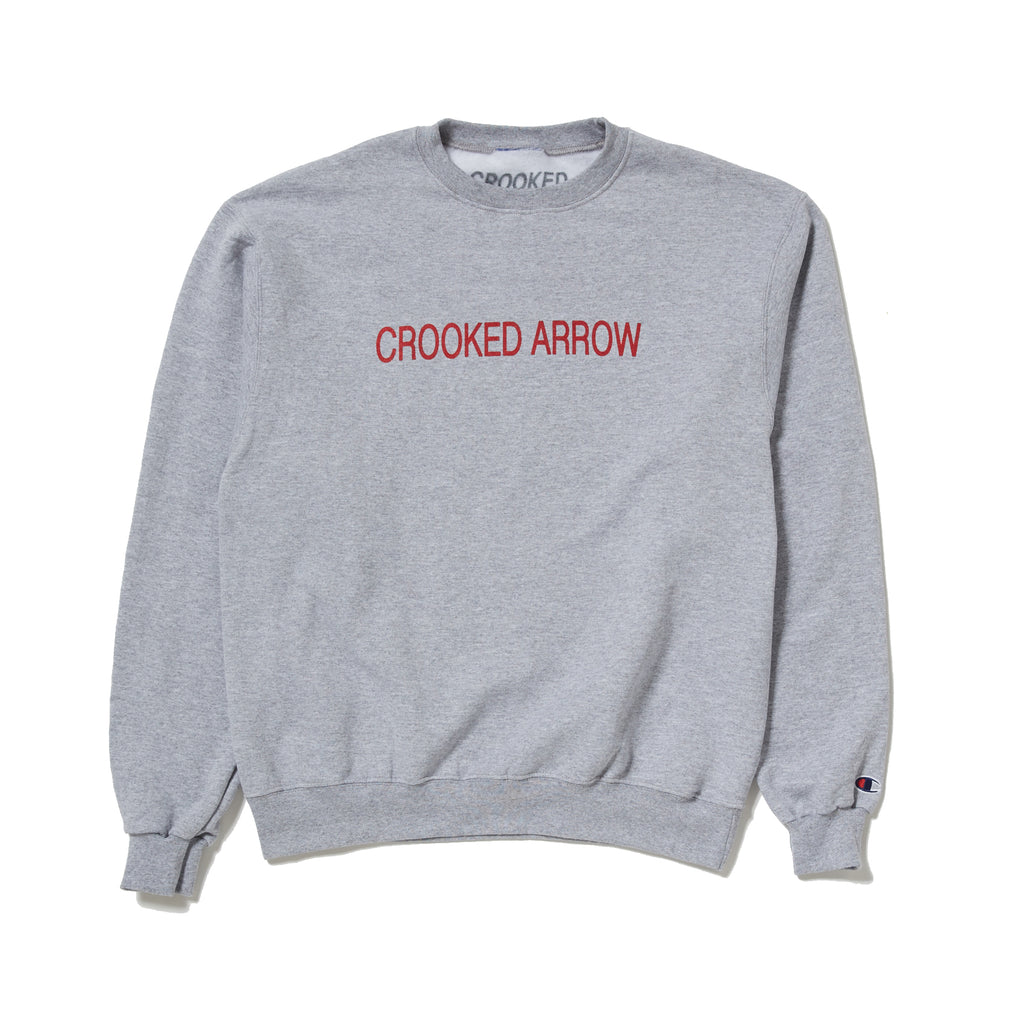 Crooked arrow grey champion crewneck sweater with red crooked arrow text printed on front with always on target printed on back