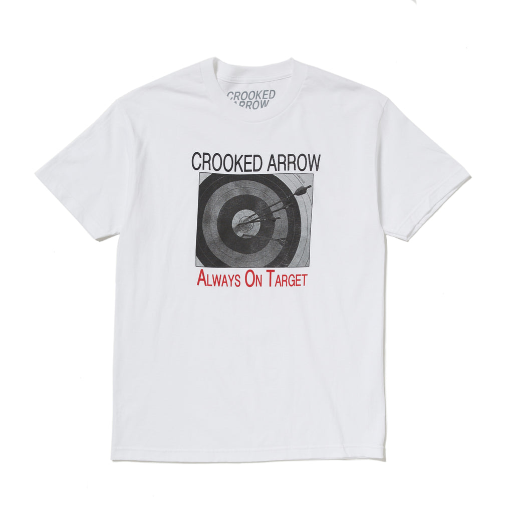 White crooked arrow short sleeve t shirt with crooked arrow always on target graphic printed on front