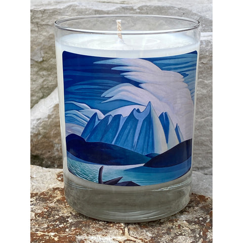 Artist Lawren S. Harris Beautiful Lake & Mountains painting blues and whites on a candle jar
