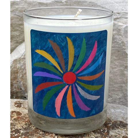 Very colour painting with a blue background and a spiral of colours Jack Bush artist painting on a candle