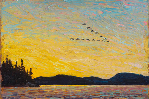 Tom Thomson sunset painting round lake, mud bay