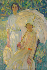 Painting Helen McNicoll two ladies with umbrella in the sun