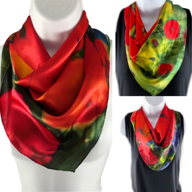 Silk square scarf with images of poppies on a green field