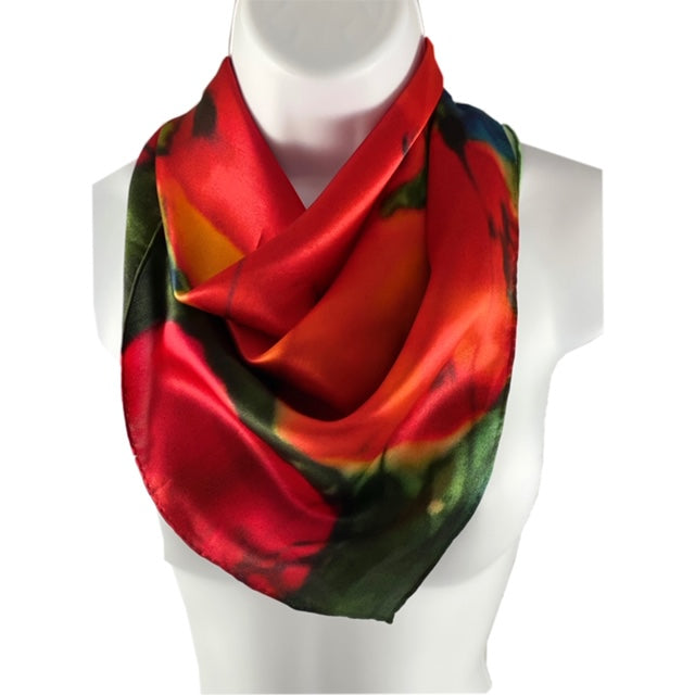 square 100% silk ladies scarf with poppies green and red