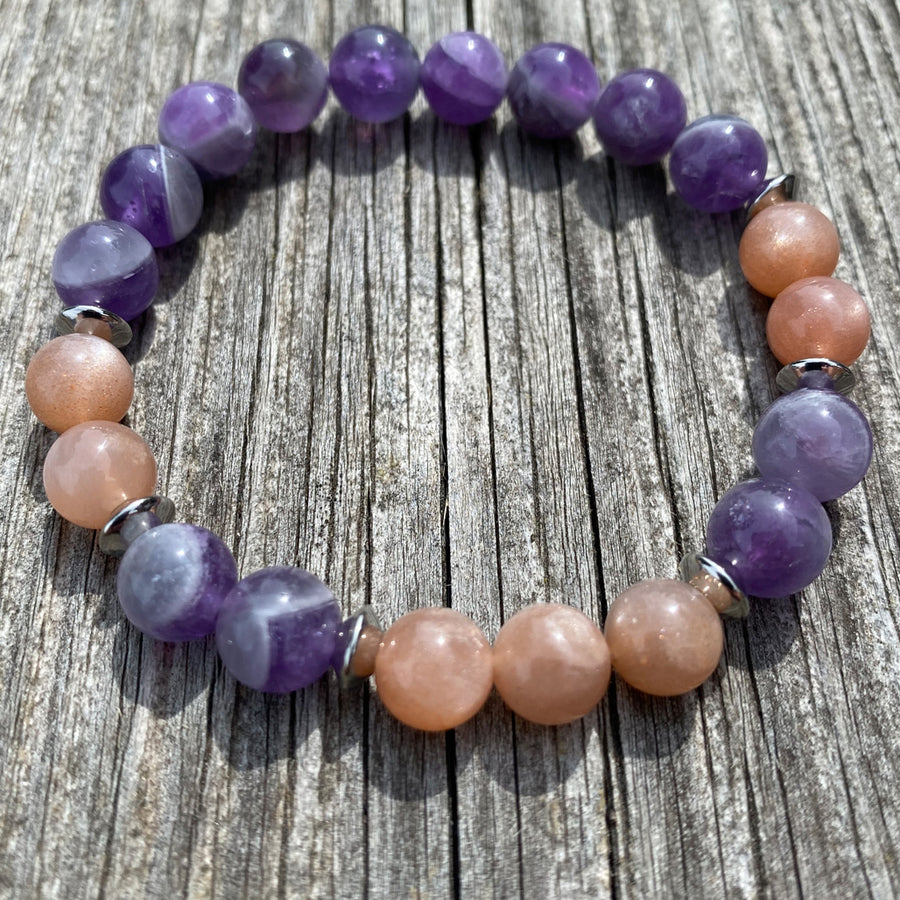 Amethyst purple stone and sunstone bracelet with silver spacers