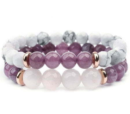 Pair of Amethyst gemstone bracelets