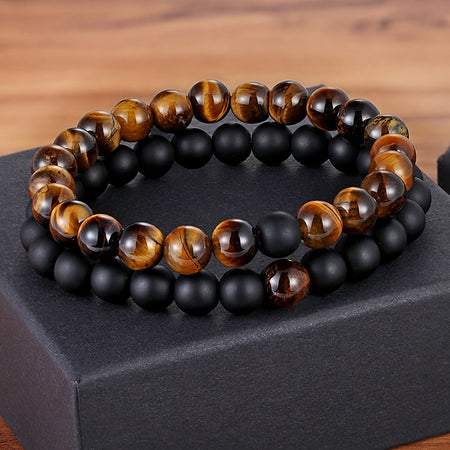 Gemstone Couples Bracelets Onyx Agate Matte Tiger Eye
