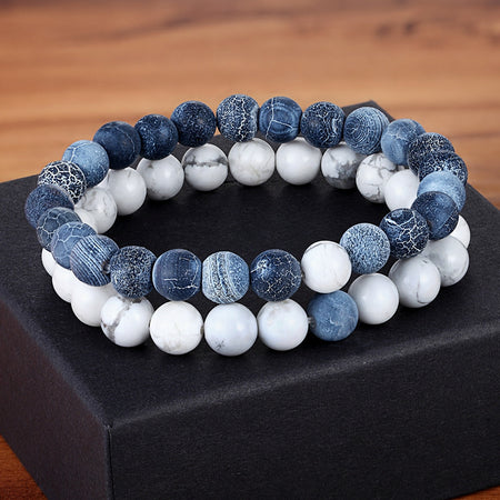 Gemstone Couples Bracelets Howlite & Denim Blue Crackle Agate