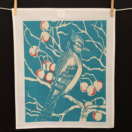 Cotton Tea Towel with painting of blue jay bird and red berries