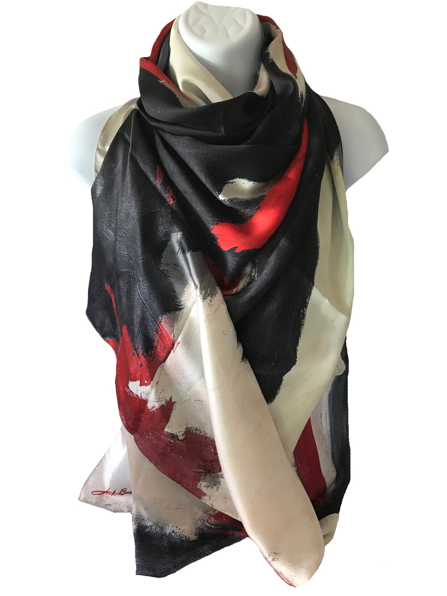 long ladies poly chiffon scarf with black, red and white abstract design