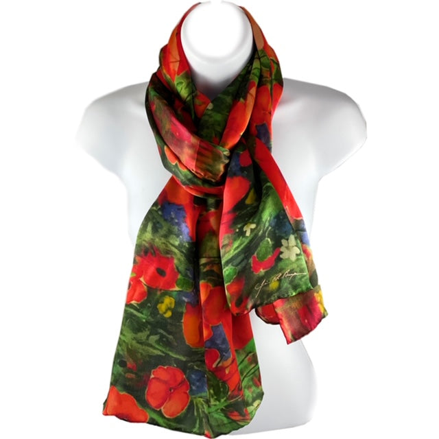 long silk scarf with poppies on a green field