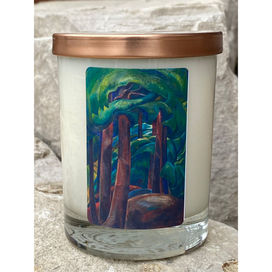 Emily Carr painting Western Forest on soy candle label