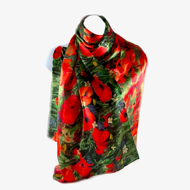 long 100% silk ladies scarf with poppies on a field
