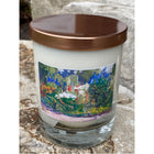 Flowers lilacs lavender a flower border painting on candle