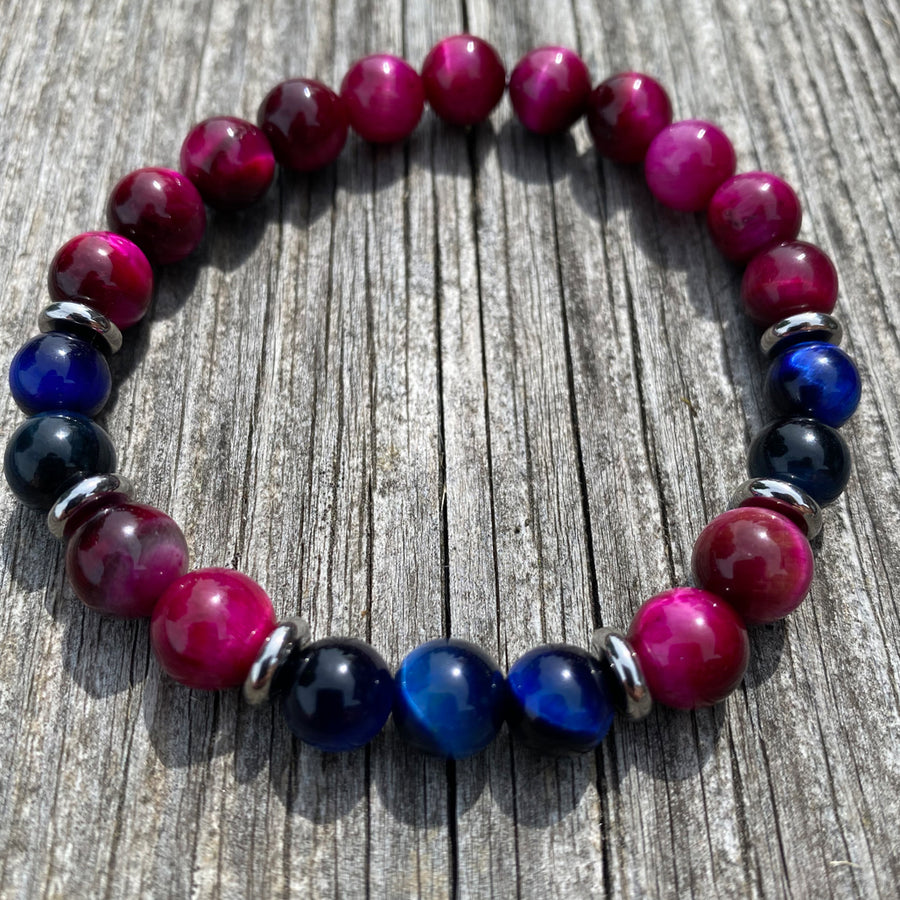 Gemstone Bracelet Blue & Fuchsia Tiger Eye
