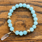Gemstone Bracelet Light Blue Jade with quartz