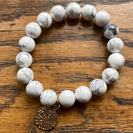Gemstone Bracelet Howlite with round hammered gold charm