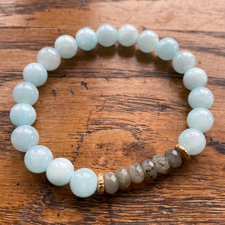 Gemstone Bracelet Light Blue Jade with grey quartz