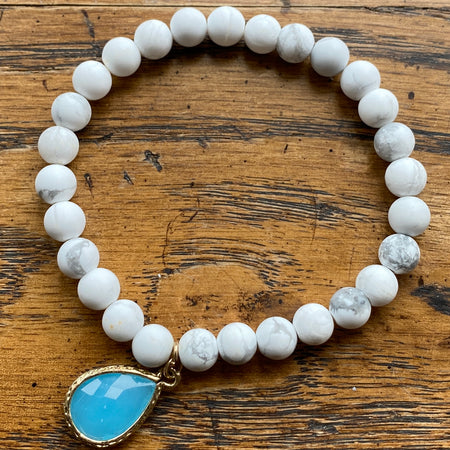 Gemstone Bracelet Howlite & Light Blue Jade charm