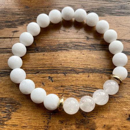 Gemstone Bracelet White Jade & Quartz
