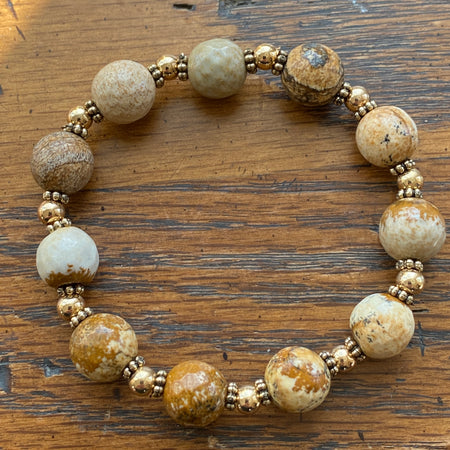 Gemstone Bracelet Crazy Lace Agate with gold spacers