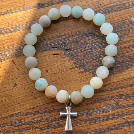 Gemstone Bracelet Matte Amazonite with cross