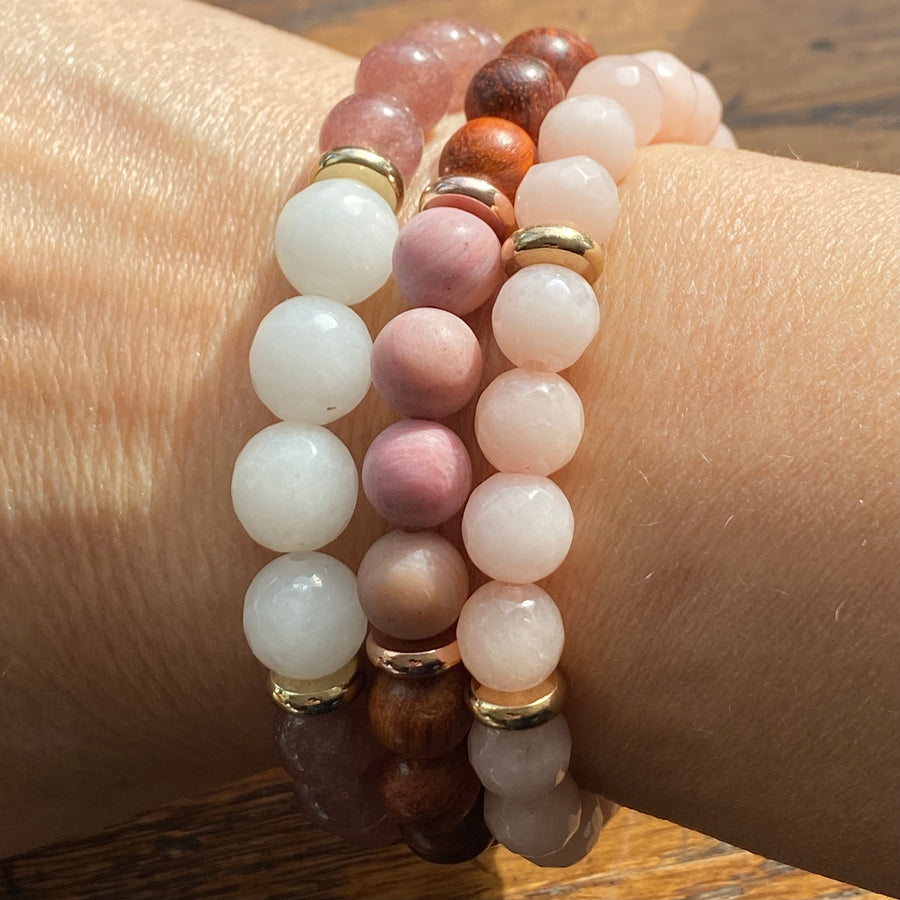 Gemstone Bracelet Strawberry Quartz & Quartz