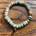 Gemstone Bracelet Amazonite Flat Bead with gold spacers