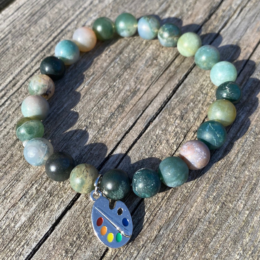 earthy colours of light green gemstone bracelet