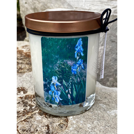 blue iris flowers painting on a pure soy candle