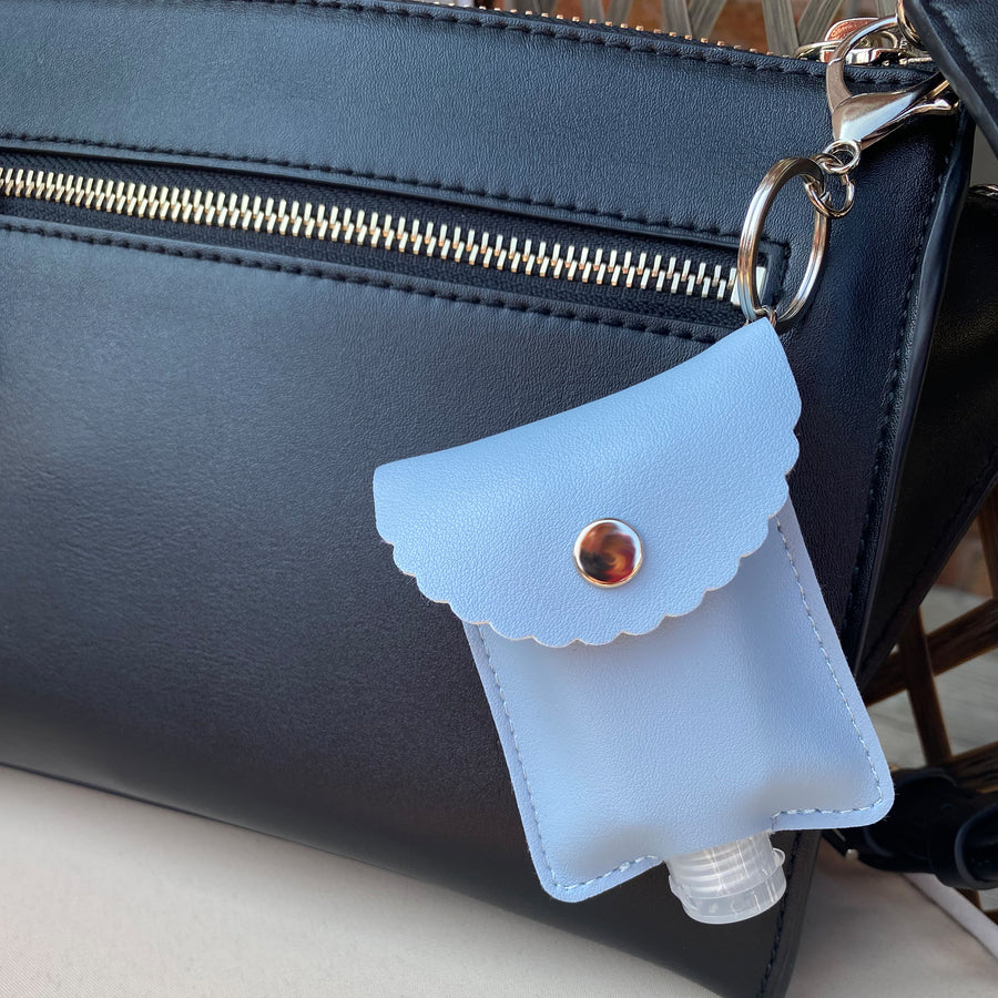 Scallop Edge Hand Sanitizer Pouch and bottle