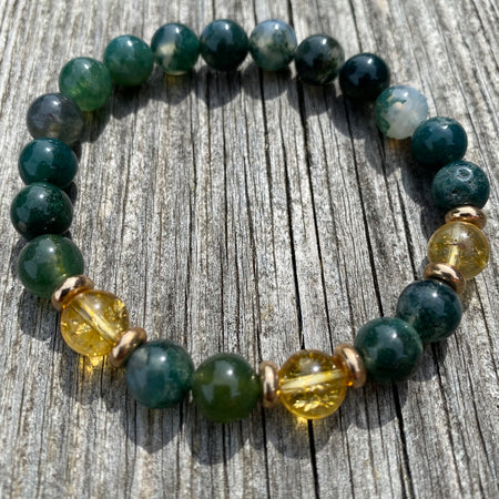 Gemstone Bracelet Yellow Citrine & Moss Agate