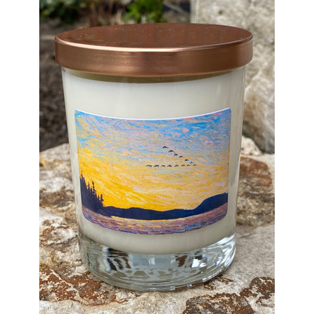 Sandalwood & Light Rose  Hand-poured, Pure Soy Candles featuring the art of Tom Thomson, Round Lake, Mud Bay, Fall 1915