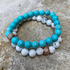 Gemstone Bracelet Howlite with crystal rose gold charm