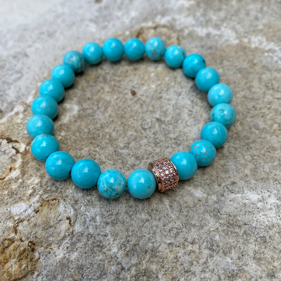 turquoise blue gemstone bracelet with crystal rose gold charm