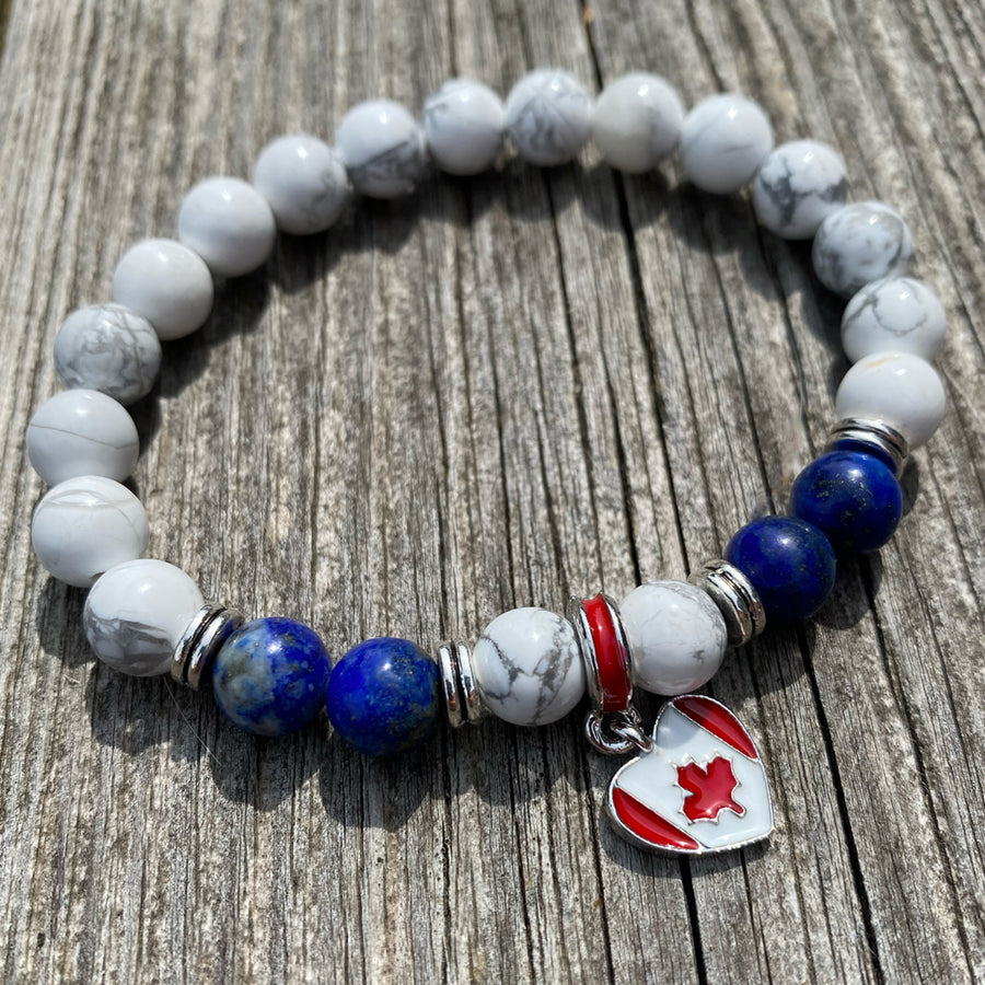 Gemstone Bracelet Howlite and Lapis Lazuli with Canadian Flag charm