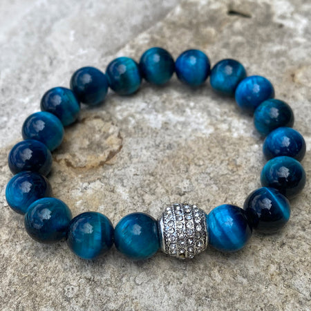 blue tiger eye gemstone bracelet with round crystal charm