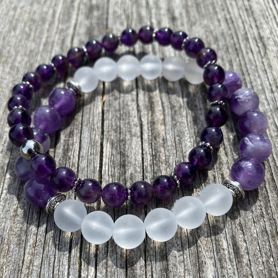 Gemstone Bracelet Amethyst with silver spacers