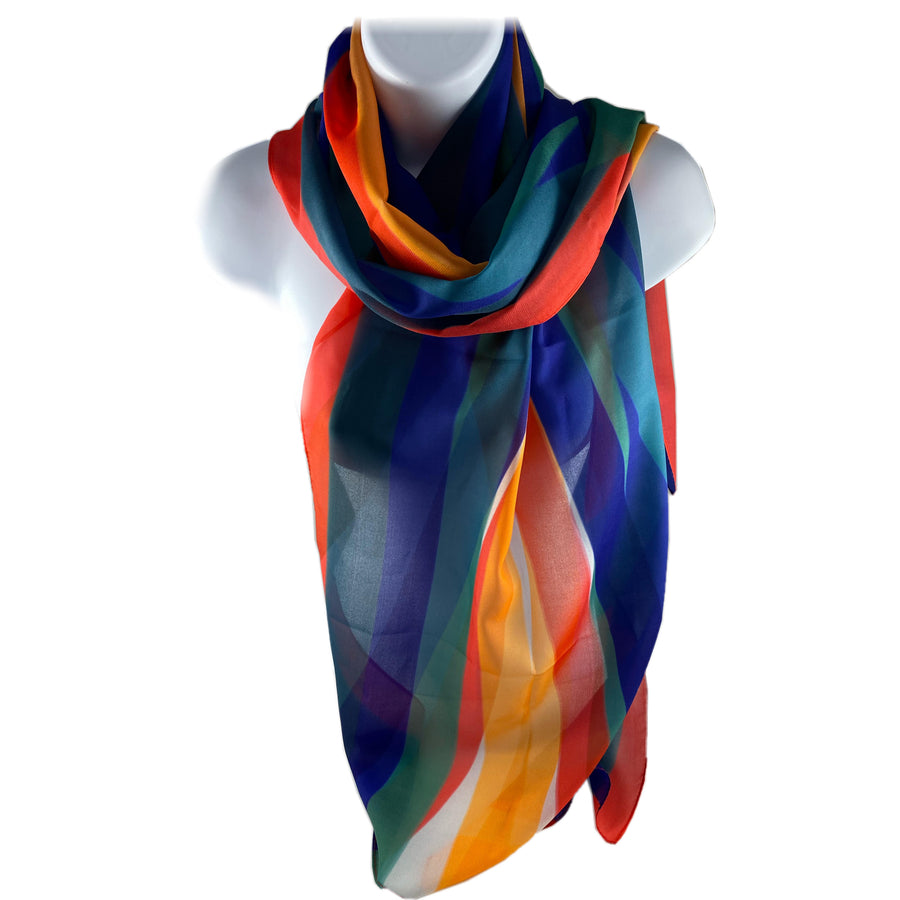 Poly Chiffon scarf for ladies abstract design with blues, greens, red, yellow, oranges