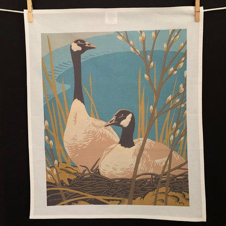Cotton tea towel with painting by AJ Casson Group of Seven Member Two Canadian Geese and pussy willows