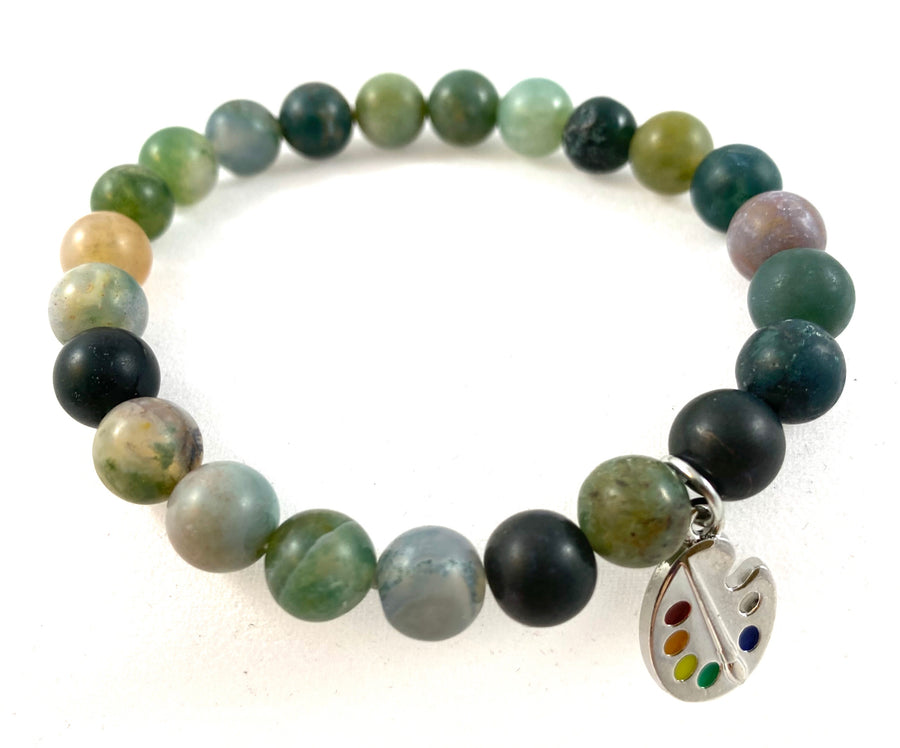 Gemstone Bracelet Indian Agate Matte