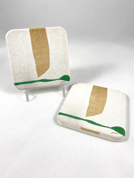 Green on White Coaster Set of 2